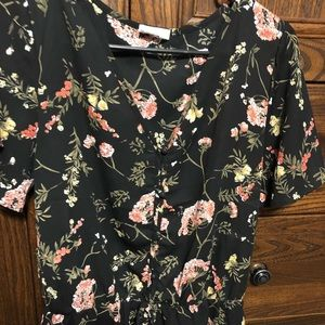 Black with pink flower blouse